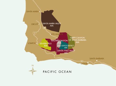Main wine growing areas of Santa Barbara County