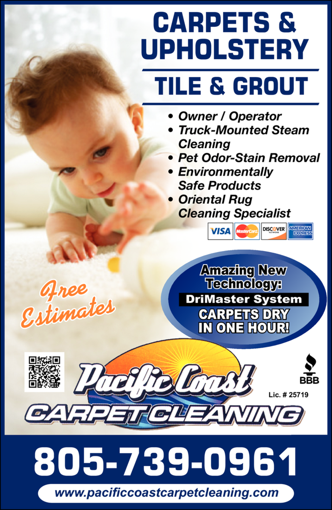 Yellow Pages Ad of Pacific Coast Carpet Cleaning