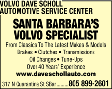 Yellow Pages Ad of Volvo Dave Scholl Automotive Service Center