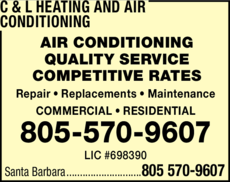 Yellow Pages Ad of C & L Heating And Air Conditioning