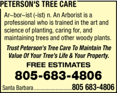 Yellow Pages Ad of Peterson's Tree Care