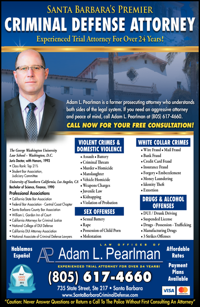 Yellow Pages Ad of Pearlman Adam L Law Offices Of