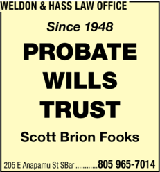 Yellow Pages Ad of Weldon & Hass Law Office