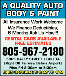 Yellow Pages Ad of A Quality Auto Body & Paint