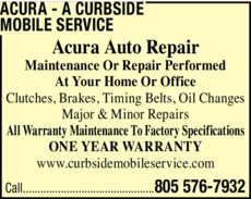 Yellow Pages Ad of Acura - A Curbside Mobile Service