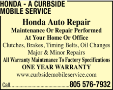 Yellow Pages Ad of Honda - A Curbside Mobile Service