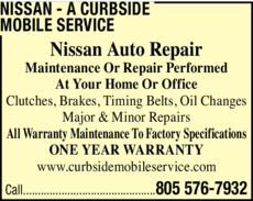Yellow Pages Ad of Nissan - A Curbside Mobile Service
