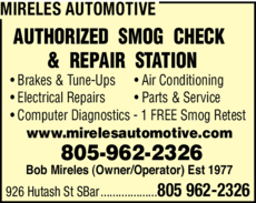 Yellow Pages Ad of Mireles Automotive