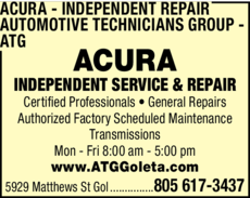 Yellow Pages Ad of Acura Independent Repair - Automotive Technicians Group - Atg