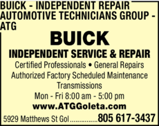Yellow Pages Ad of Buick Independent Repair - Automotive Technicians Group - Atg