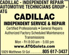 Yellow Pages Ad of Cadillac Independent Repair - Automotive Technicians Group - Atg