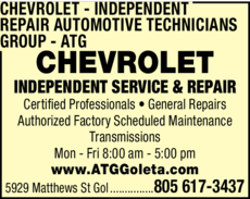 Yellow Pages Ad of Chevrolet Independent Repair - Automotive Technicians Group - Atg