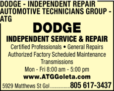 Yellow Pages Ad of Dodge Independent Repair - Automotive Technicians Group - Atg