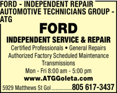 Yellow Pages Ad of Ford Independent Repair - Automotive Technicians Group - Atg