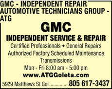 Yellow Pages Ad of Gmc Independent Repair - Automotive Technicians Group - Atg