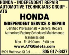 Yellow Pages Ad of Honda Independent Repair - Automotive Technicians Group - Atg