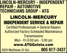Yellow Pages Ad of Lincoln-Mercury Independent Repair - Automotive Technicians Group - Atg