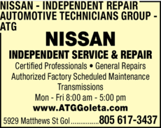 Yellow Pages Ad of Nissan Independent Repair - Automotive Technicians Group - Atg