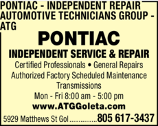 Yellow Pages Ad of Pontiac Independent Repair - Automotive Technicians Group - Atg