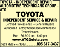 Yellow Pages Ad of Toyota Independent Repair - Automotive Technicians Group - Atg