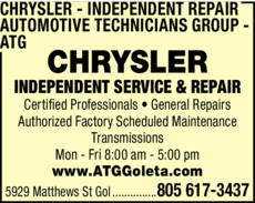 Yellow Pages Ad of Chrysler Independent Repair - Automotive Technicians Group - Atg