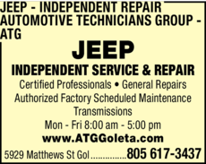 Yellow Pages Ad of Jeep Independent Repair - Automotive Technicians Group - Atg