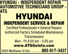 Yellow Pages Ad of Hyundai Independent Repair - Automotive Technicians Group - Atg