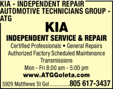 Yellow Pages Ad of Kia Independent Repair - Automotive Technicians Group - Atg