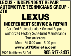 Yellow Pages Ad of Lexus Independent Repair - Automotive Technicians Group - Atg