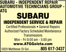 Yellow Pages Ad of Subaru Independent Repair - Automotive Technicians Group - Atg