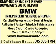 Yellow Pages Ad of Bmw-Independent Repair Bowman's Auto Repair