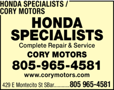 Yellow Pages Ad of Honda Specialists / Cory Motors