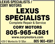 Yellow Pages Ad of Audi Specialists / Cory Motors