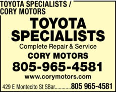 Yellow Pages Ad of Toyota Specialists / Cory Motors