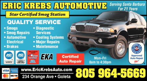 Yellow Pages Ad of Eric Krebs Automotive