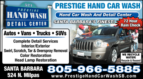 Yellow Pages Ad of Prestige Hand Car Wash & Detail Center