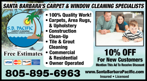 Yellow Pages Ad of S B Pacific Carpet Cleaning
