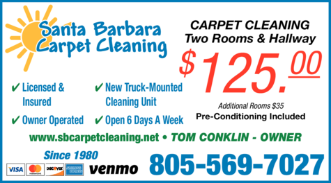 Yellow Pages Ad of Santa Barbara Carpet Cleaning