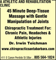 Yellow Pages Ad of A Athletic And Rehabilitation Clinic