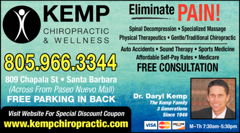 Yellow Pages Ad of Kemp Chiropractic & Wellness