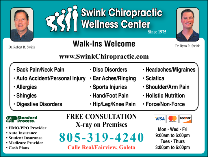 Yellow Pages Ad of Swink Chiropractic Wellness Center