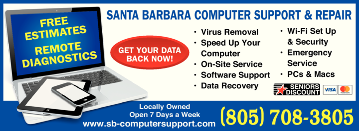 Yellow Pages Ad of Santa Barbara Computer Support & Repair