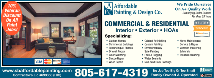 Yellow Pages Ad of Affordable Painting & Design Co