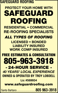 Yellow Pages Ad of Safeguard Roofing