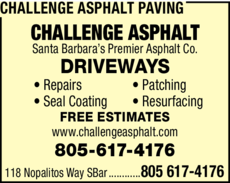 Yellow Pages Ad of Challenge Asphalt Paving