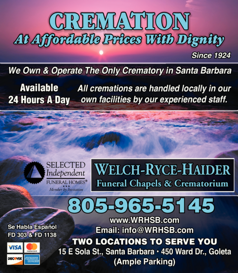 Yellow Pages Ad of Welch-Ryce-Haider Funeral Chapels & Crematorium