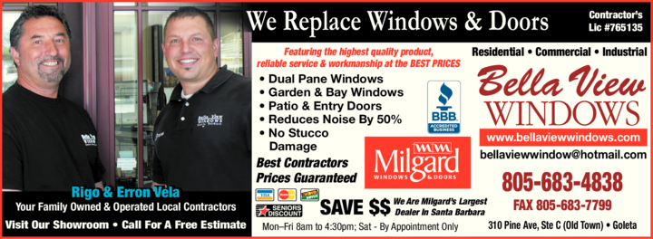 Yellow Pages Ad of Bella View Windows & Doors Inc