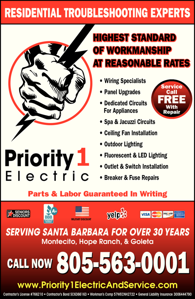 Yellow Pages Ad of Priority 1 Electric