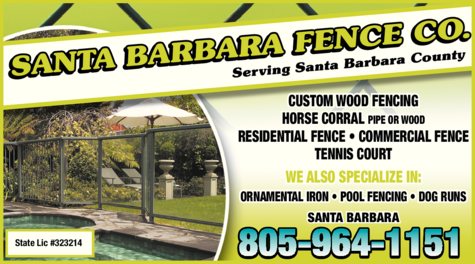 Yellow Pages Ad of Santa Barbara Fence Co