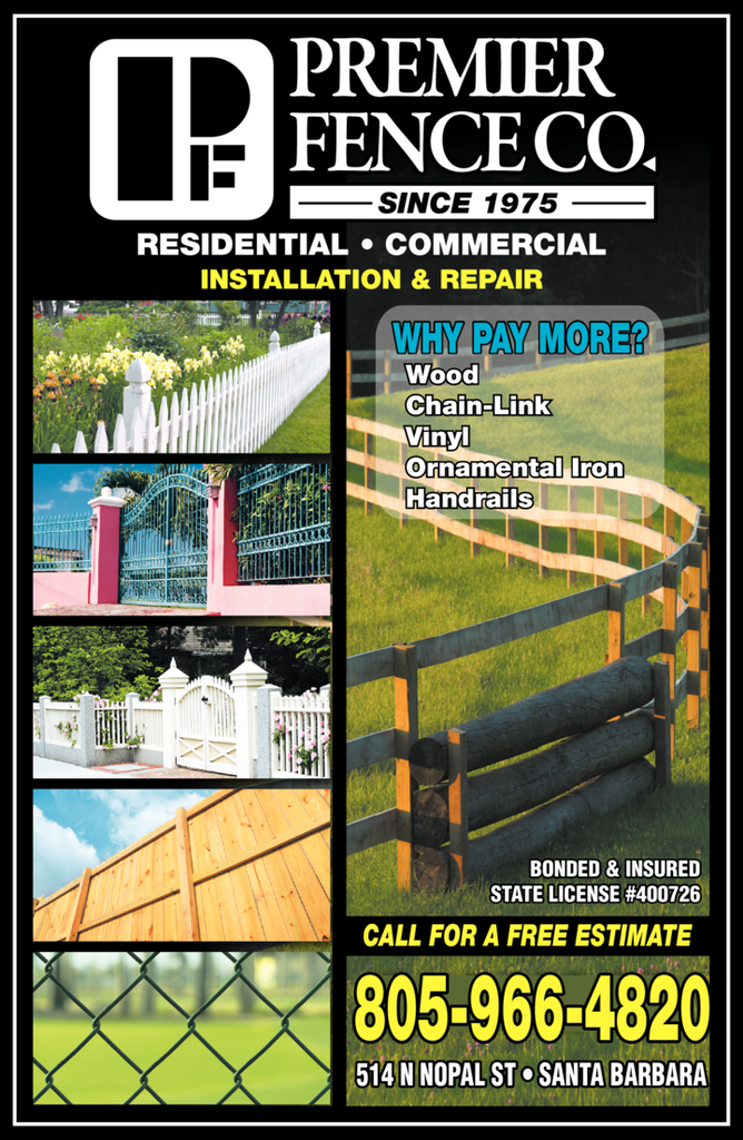 Yellow Pages Ad of Premier Fence Co